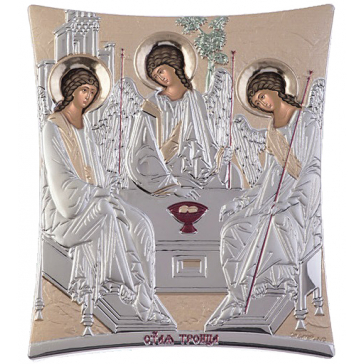 Посеребрённая икона «Святая Троица», производство Греция, 5х7 см