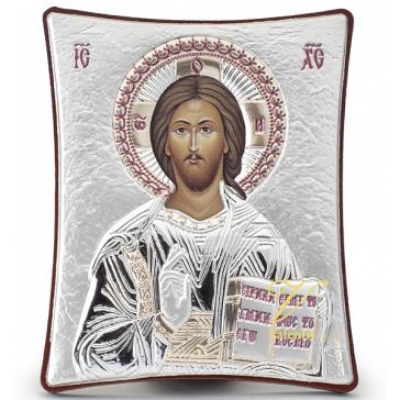Небольшая икона «Господь Вседержитель» с посеребрением, производство Греция