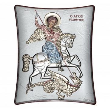 Посеребрённая икона «Георгий Победоносец», производство Греция