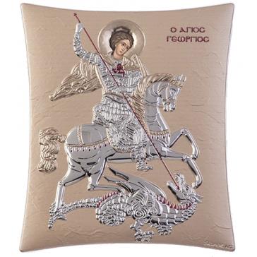 Посеребрённая икона ручной работы «Георгий Победоносец», декор: золотая эмаль