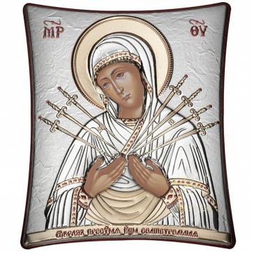 Подарочная икона ручной работы «Богородица Семистрельная», Греция