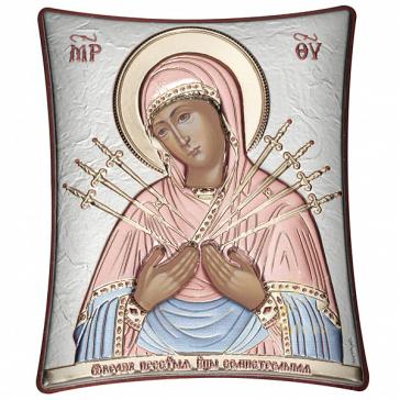 Посеребрённая икона с цветной эмалью «Богородица Семистрельная», 20х25 см
