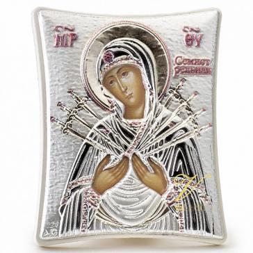 Посеребрённая икона «Богородица Семистрельная», ручная работа, 15х20 см