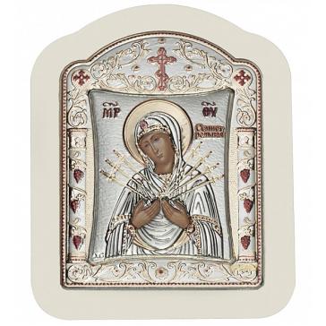 Посеребрённая икона ручной работы «Богородица Семистрельная», 14х18 см