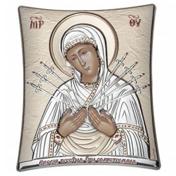 Посеребрённая икона «Богородица Семистрельная», ручная работа, 11х14 см