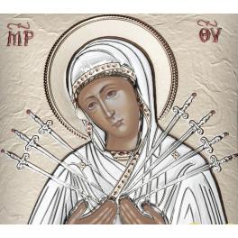 Посеребрённая икона «Богородица Семистрельная», ручная работа, Греция