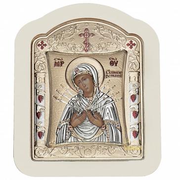 Посеребрённая икона в фигурной рамке «Богородица Семистрельная», Греция