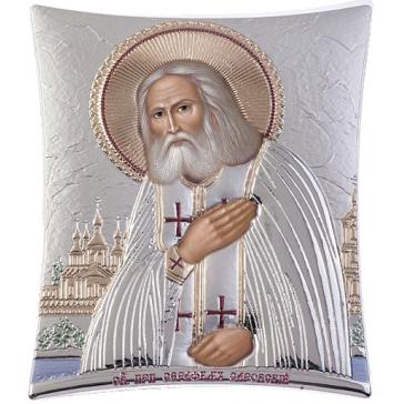Посеребренная икона Преподобного Серафима Саровского, производство Греция