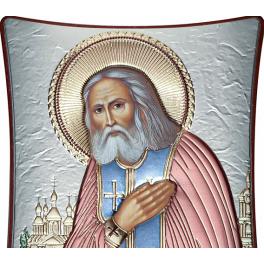 Посеребренная икона с цветной эмлью «Преподобный Серафим Саровский чудотворец»