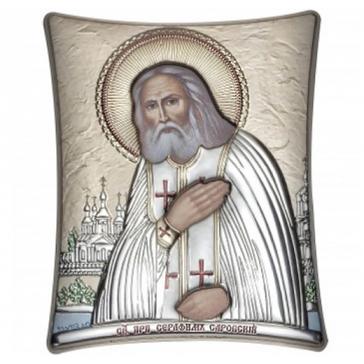 Посеребренная икона «Преподобный Серафим Саровский чудотворец», производство Греция