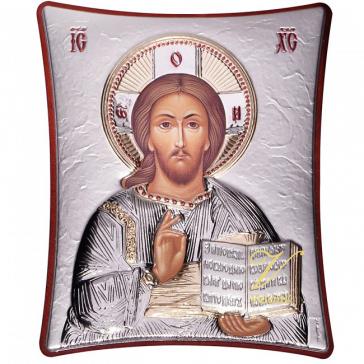 Карманная икона «Господь Вседержитель» с посеребрением, Греция