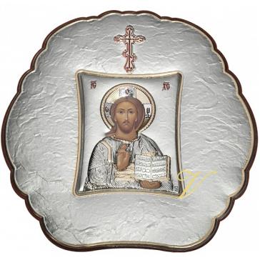 Посеребренная икона «Господь Вседержитель», 10х10 см, Греция