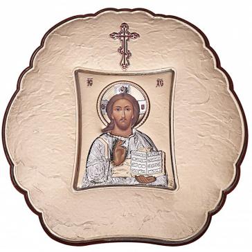 Посеребренная икона «Господь Вседержитель» с эмалью, Греция