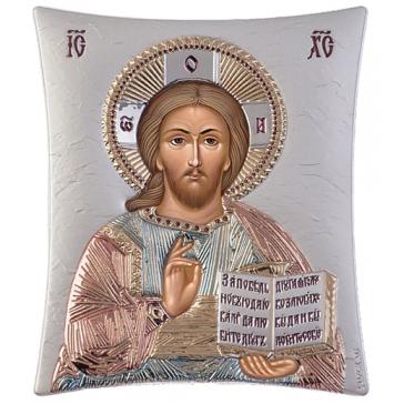 Подарочная икона с посеребрением «Господь Вседержитель», производство Греция