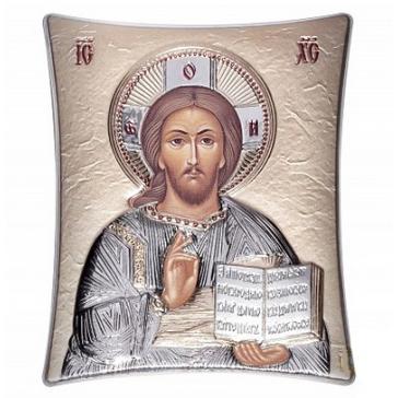 Красивая икона «Господь Вседержитель» с посеребрением, 11 х 14 см