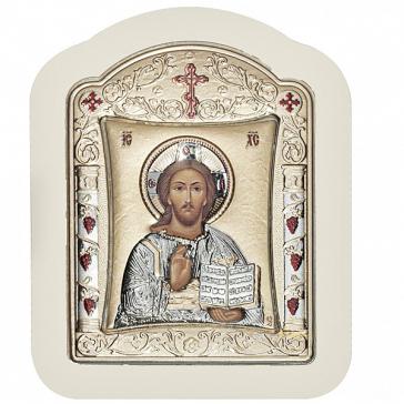 Небольшая икона «Господь Вседержитель» с посеребрением, 10х12 см