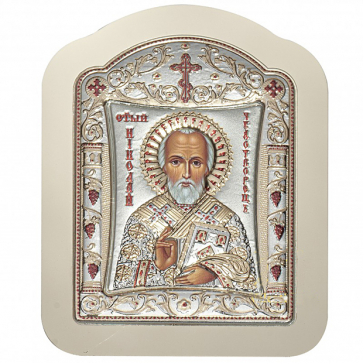 Фигурная икона с посеребрением «Николай Чудотворец», производство Греция