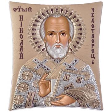 Подарочная икона с посеребрением «Николай Угодник», ручная работа