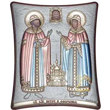 Посеребренная икона с цветными эмалями «Пётр и Феврония Муромские»