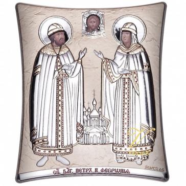 Посеребренная икона «Пётр и Феврония Муромские», производство Греция