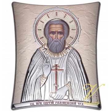 Посеребренная икона «Преподобный Сергий Радонежский чудотворец», производство Греция