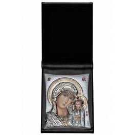 Посеребренная икона «Казанская Божия Матерь» в футляре, производство Греция
