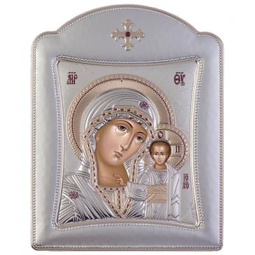 Подарочная икона Казанской Божией Матери с посеребрением, 11х15 см