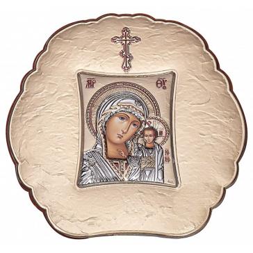 Посеребрённая икона Казанской Божией Матери с цветной эмалью, 10х10 см