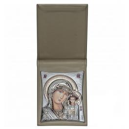 Посеребренная икона «Казанская Божия Матерь» в футляре