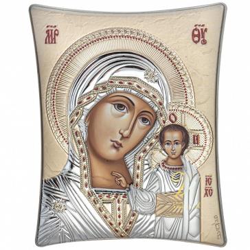 Карманная икона Казанской Божией Матери, посеребрение