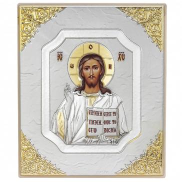 Подарочная икона «Господь Вседержитель» с посеребрением, ручная работа