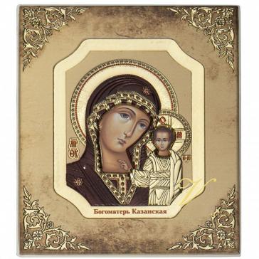 Икона Казанской Богородицы с цветной эмалью, размер 8х9 см