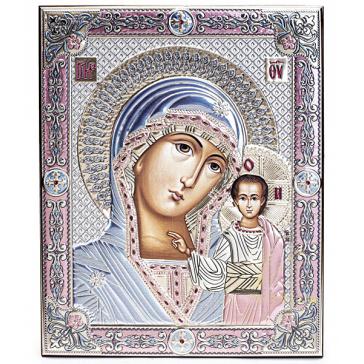 Подарочная икона с посеребрением и цветной эмалью «Казанская Божия Матерь», 21х27 см