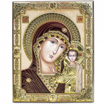 Подарочная икона Казанской Божией Матери с цветной эмалью, 21х28 см