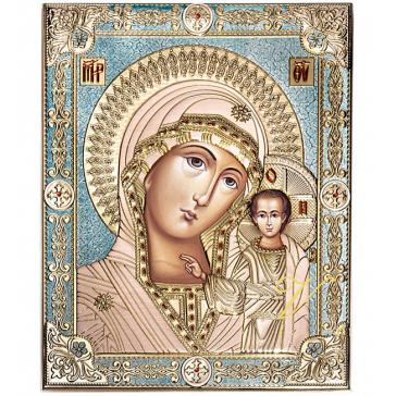Подарочная икона Казанской Божией Матери с цветной эмалью, производство Греция