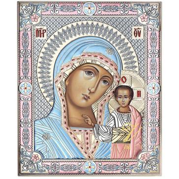 Подарочная икона с посеребрением и цветной эмалью «Казанская Божия Матерь», Греция