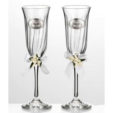 Два бокала для шампанского «На счастье», стекло с посеребренными медальонами
