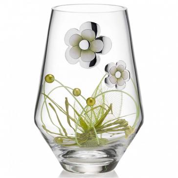 Стеклянная ваза с цветочным декором «Альба», высота 25 см