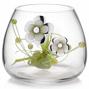 Вазочка для конфет «Рассвет», материал: стекло с посеребренным узором