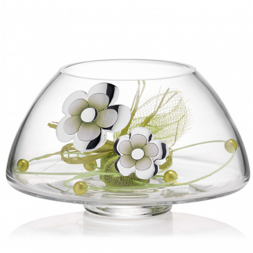 Вазочка для сладостей «Весенний рассвет», материал: стекло с посеребренным узором