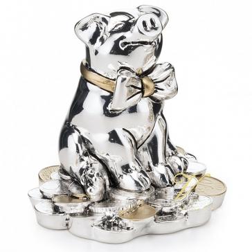 Посеребренная статуэтка свинки «Богатства в Новом году!»