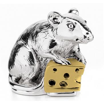 Посеребренная статуэтка «Мышка с сыром», символ Нового 2020 года