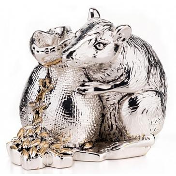 Посеребренная статуэтка «Мышь с мешочком зерна», символ 2020 года