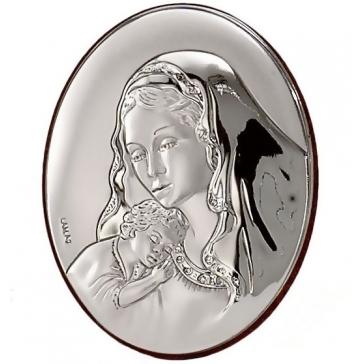 Посеребренное миниатюрное панно «Мадонна с младенцем»