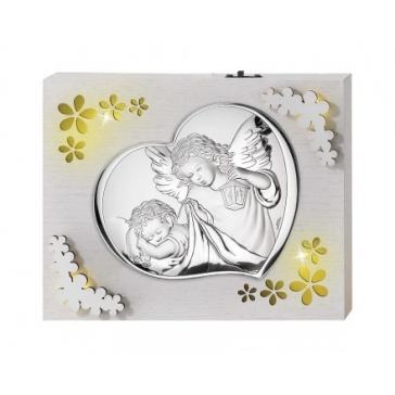 Панно с подсветкой и посеребренной миниатюрой «Ангел Хранитель»