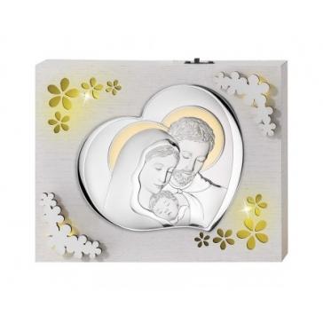 Панно с подсветкой и посеребренной миниатюрой «Святое семейство»