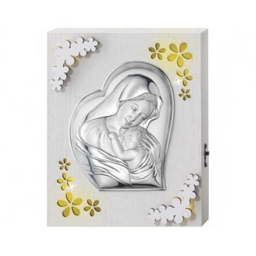 Панно с подсветкой и посеребренной миниатюрой «Мадонна с младенцем»