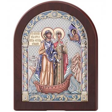 Настольная икона с посеребрением «Пётр и Феврония Муромские», 12х16 см