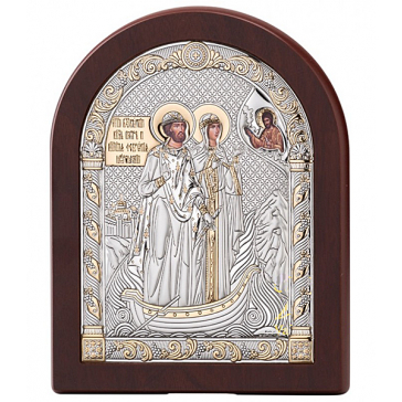 Посеребренная икона «Пётр и Феврония Муромские», 12х16 см