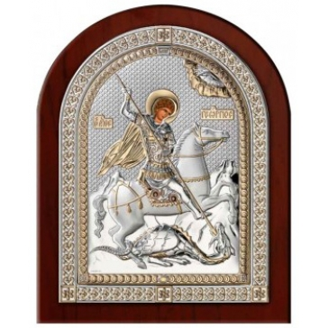 Посеребренная икона  «Святой Георгий Победоносец»